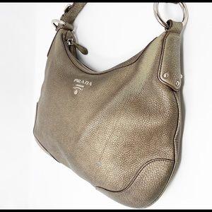 Prada Bags - Prada Hobo Bag Vitello Daino Pewter Pebble Leather